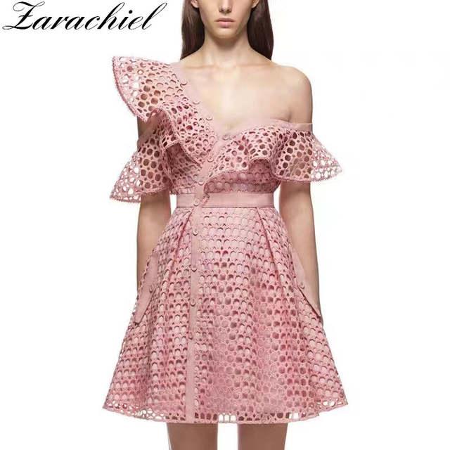 34feec394a4f9 Zarachiel New 2018 Summer Self Portrait Runway Hollow Out Lace Flounces  Pink Dress Women Sexy Off Shoulder V-Neck Mini Dress