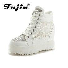 Fujin Бренд Высокой Моды вырезы кружева белый холст обувь полые цветочный печати дышащий платформы женщин случайные сетки обувь zapatos
