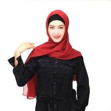 2018 Women Scarf Muslim Hijab Scarf Chiffon Hijab Plain  Silk Shawl ScarvesHead Wrap Muslim Head Scarf Hijab