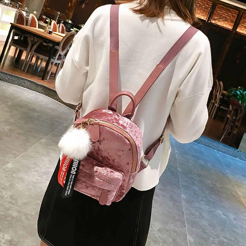 afb8ee82f49d Velour Backpacks Female Mini Women Backpack Back Pack School Bags Teenage  Girls Cute Pink Velvet Hairball Bag mochila bagpack