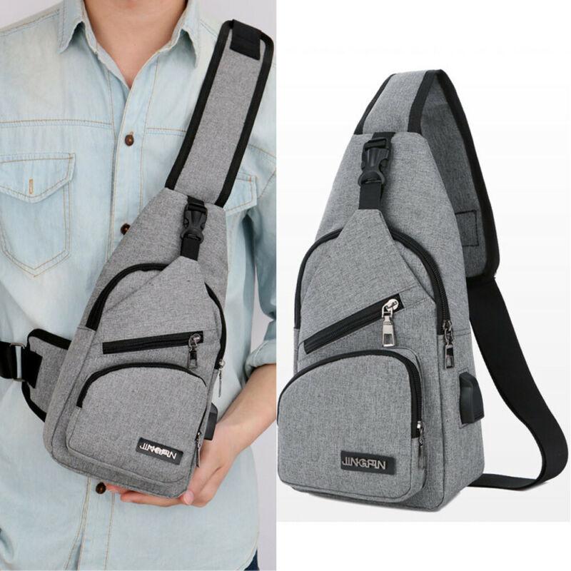 USB Charging Shoulder Bag Men Women Sling Chest Pack Sports Crossbody Handbag