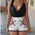 Verão 2016 Das Mulheres Shorts Macacões Partido Playsuit Sexy Mulheres Impressão Jumpsuit Night Club Bodycon Macacão Feminino Combinaison