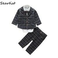 Seartist Baby Boys Clothing Set Newborn 4Pcs Set Suit+shirt+Pants +Tie Boys Outfit Coat Newborn Kids Clothes Sets Rush 40G