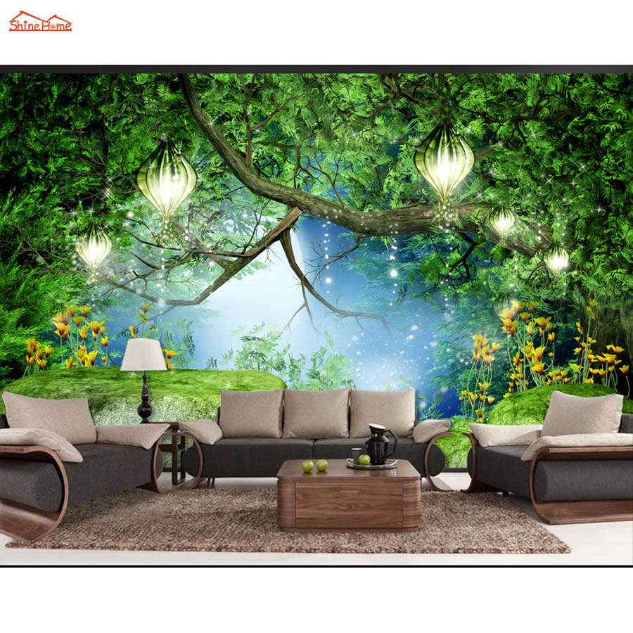 Shinehome-Fantasy Forest Stone Bridge Trees Natural Mural Rolls 3 D Wallpaper for Living Room 3D Wall Paper Roll Papel De Parede shinehome abstract brick black white polygons background wallpapers rolls 3 d wallpaper for livingroom walls 3d room paper roll