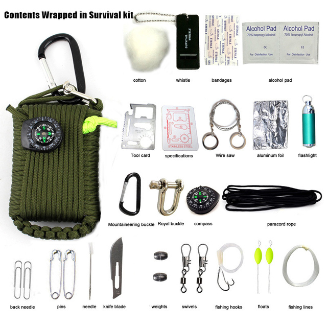 29 in 1 SOS Emergency  Equipment emergency bag field survival box self-help box  equipment for Camping Hiking saw/fire