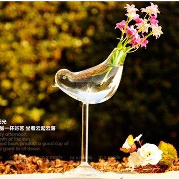 Творческий высокий птица ваза стеклянная ваза украшения дома отель украшения цветок контейнеры - Цвет: A