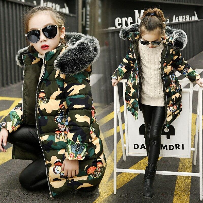 Mädchen Winter Camouflage Mäntel Mode Baumwolle Padded Fell Kapuze Parka Kinder Verdicken Warme Outwear Mädchen Kleidung Kinder Jacken