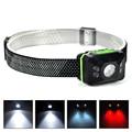 ABS LED Frontal Led Headlamp Headlight 4xCOB+1xPE LED Flashlight Linternas Lampe Torch Head lamp by AAA