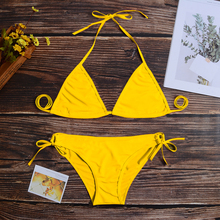 2019 Push Up Micro Bikini Set Swimwear Women Halter Low Waist Brazilian Shorts Solid Swim Suit For Women maillot de bain femme