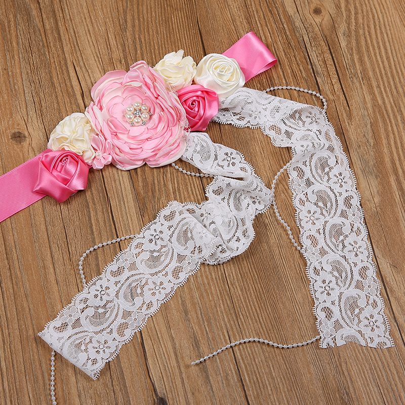 304218acc0 US $8.28 40% OFF|Kids Flower Belts Girls Wedding Gown Dress Sashes Children  Belt Girls Satin Ribbons Lace Rhinestone Flower Girl Sash Pink, White-in ...