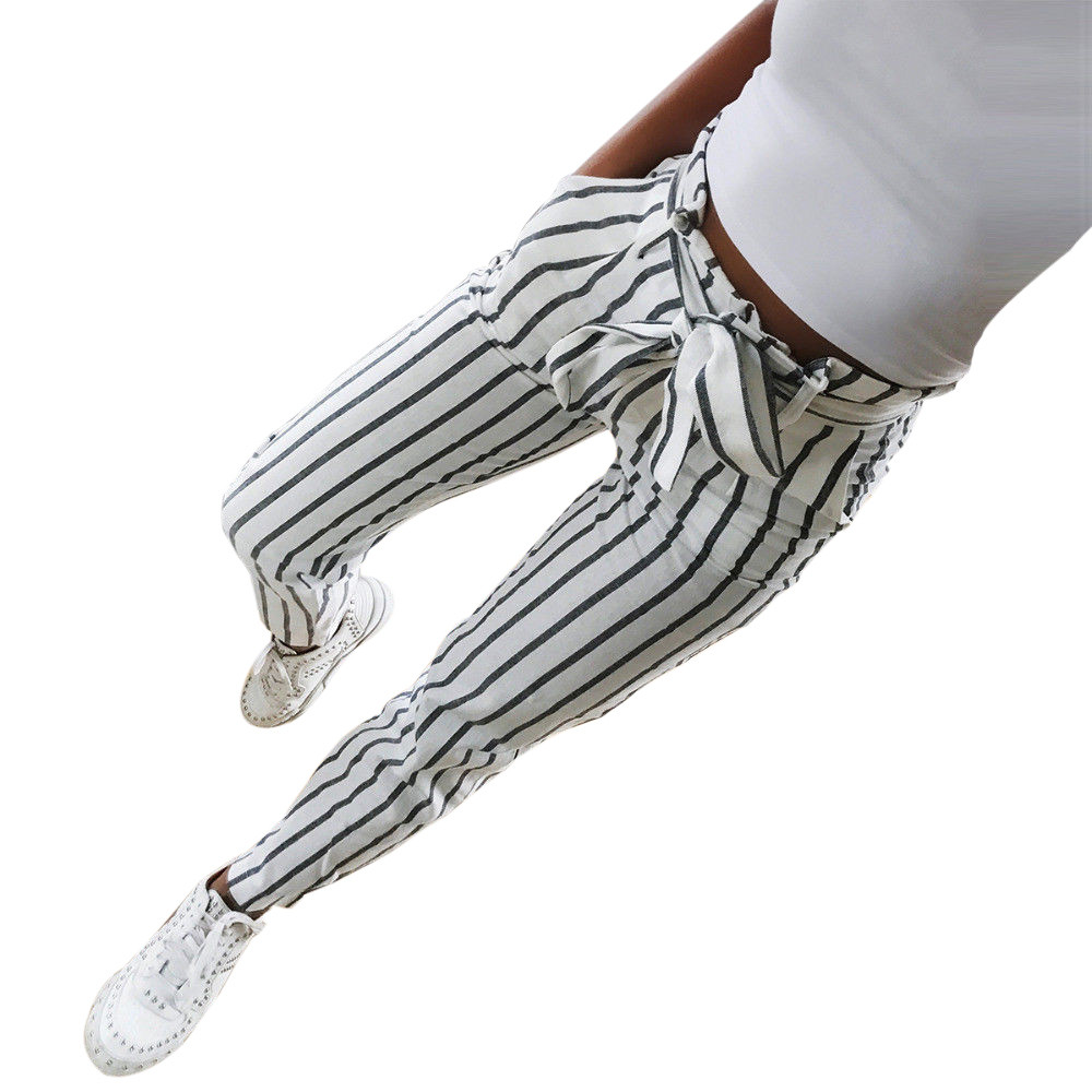 2020 Skinny Women Striped Long Jeans Tie High Waist Ladies Pants Trouser Pantalones Mujer Korean Style Pants W701