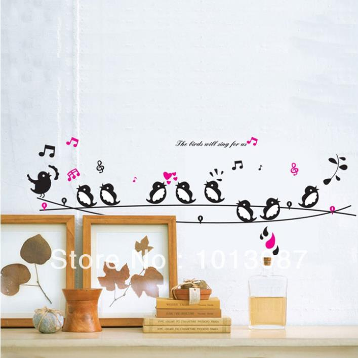 Birds Singing Music DIY Wall Decor Wall Stickers Animals Poster Decorations  For Child Bedroom Living Room In Wall Stickers From Home U0026 Garden On ...