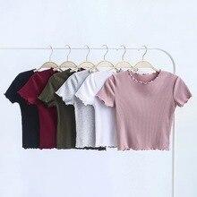 Vintage orejas de madera O cuello de manga corta Camiseta 2019 nueva mujer Slim Fit camiseta apretado verano Retro Tops 6 colores
