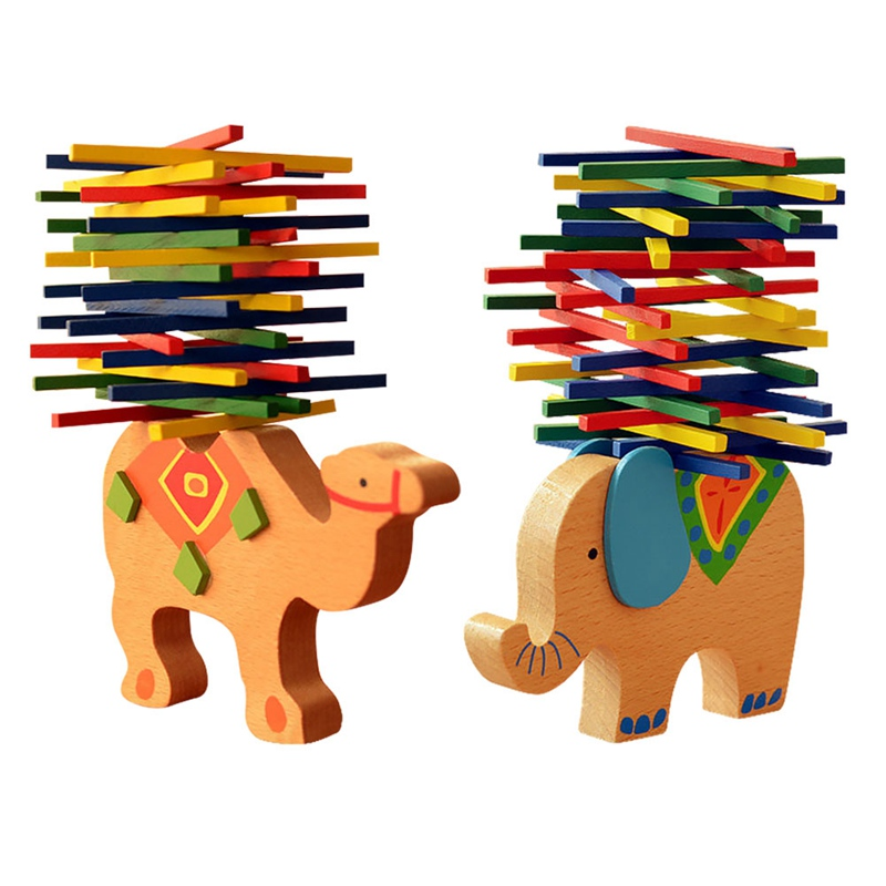 Color Stick Balance Beam Kids Hands-on Puzzle Game Elephant Balance Stick Educational Toy Gift