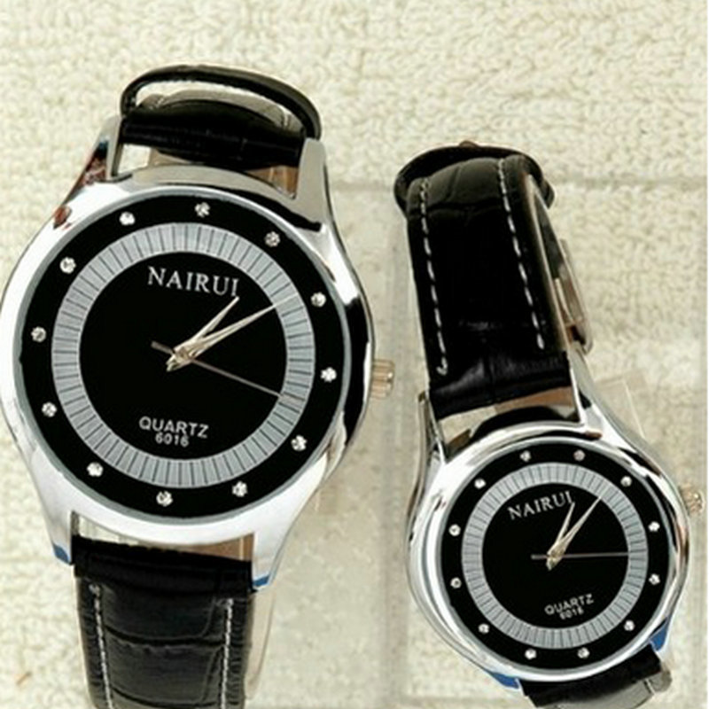 ФОТО A couple of new waterproof watches quartz watch belt diamond circular pointer of male and female students