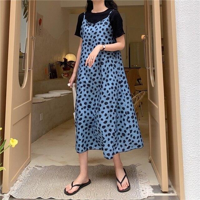 3a671815c591 Vintage mujer vestido largo sin mangas estampado de leopardo Polka Dot  verano playa vestidos cuello en V suelta Sling Maxi