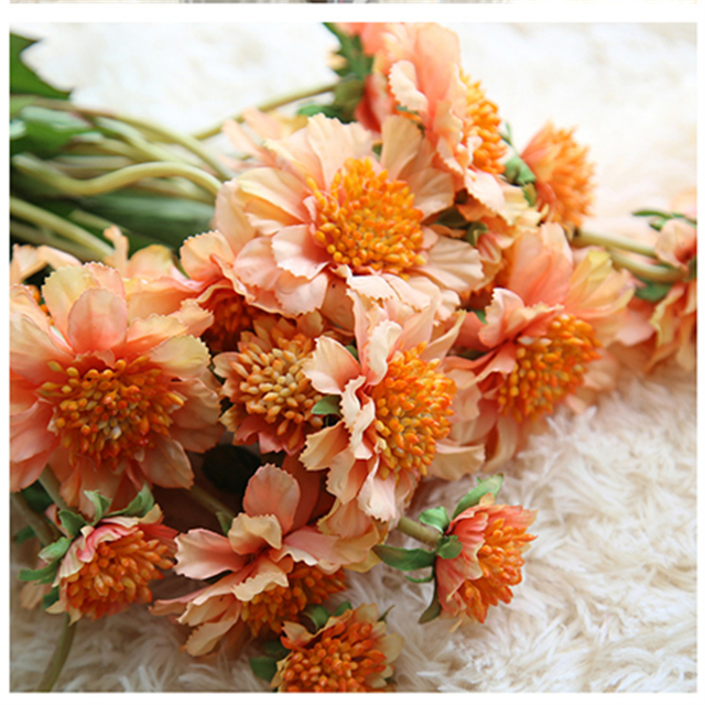 3 Heads Orange Artificial Flower Windmill Orchid For Home Garden Indoor Plants Wedding Bouquet Table