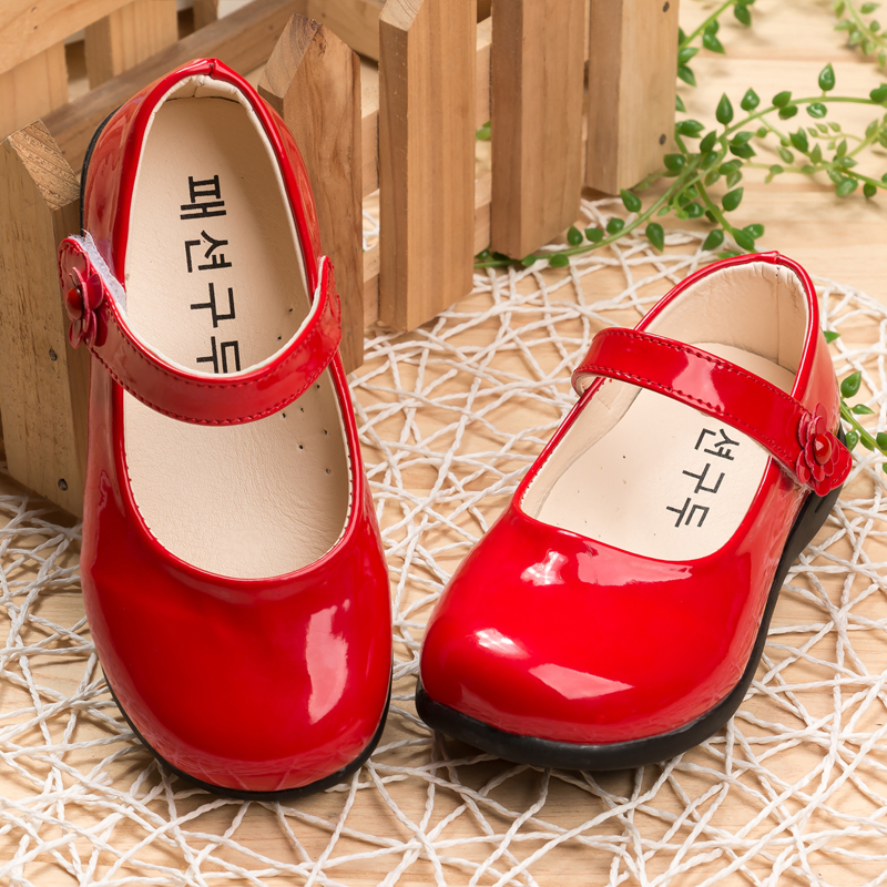 Red Children Flowers girls Kids patent leather Princess shoes for girls kids baby party wedding Christmas