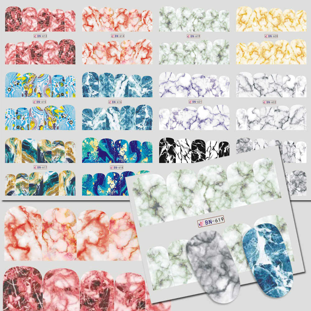 12 marmer Ontwerpen Water Transfer Decals Sliders Stickers Volledige Tattoo Wraps Decoraties Nail Art Manicure Accessoires TRBN613-624