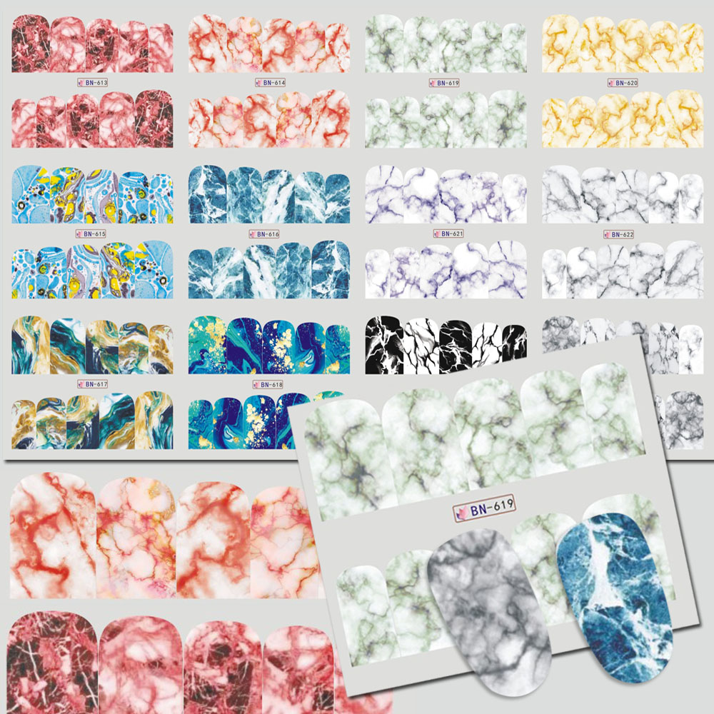 12 Designs/Set Water Transfer Marble Texture Decals Nail Art Sticker ...