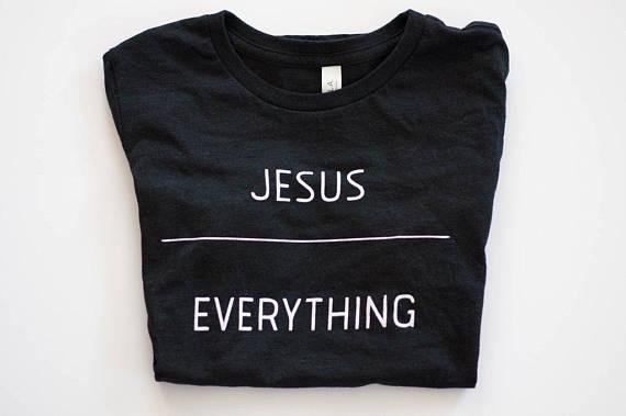 GESÙ SU TUTTO T-Shirt Della Ragazza del Cotone Tumblr Tee Christian Signore Shirt Graphic Lettera Girocollo t shirt Casual Hipster Top