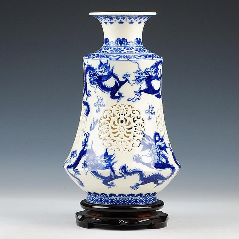 Antique Chinese-style Palace Restoring Ancient Ways Jingdezhen Dragon Ceramic Vase Flower Decoration blue-white-porcelain-vaseAntique Chinese-style Palace Restoring Ancient Ways Jingdezhen Dragon Ceramic Vase Flower Decoration blue-white-porcelain-vase
