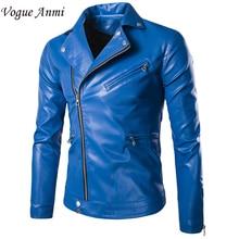 Mode stehkragen motorradlederkleidung männer Reißverschluss lederjacke männlich oberbekleidung blau Leder und Wildleder M-XXXL