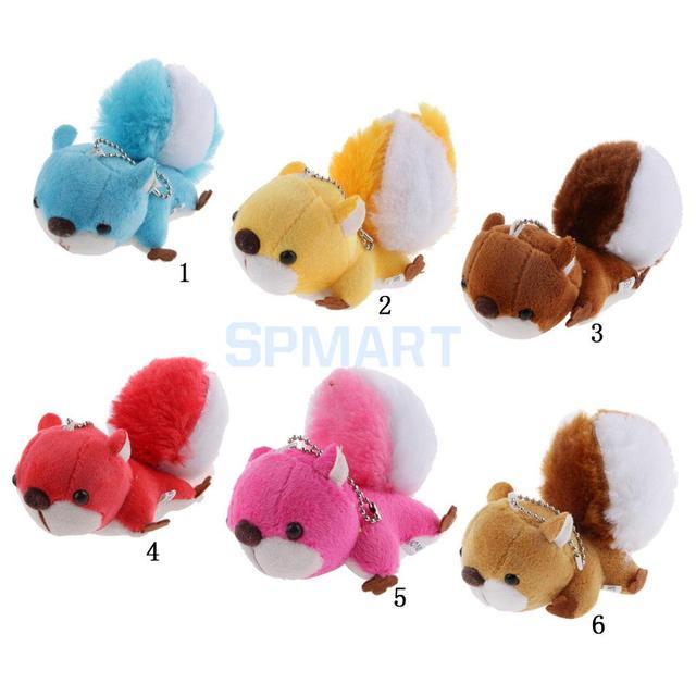 Bonito Charme Saco Keychain Animal de Pelúcia Grande Cauda Esquilo Brinquedo de Pelúcia Macia
