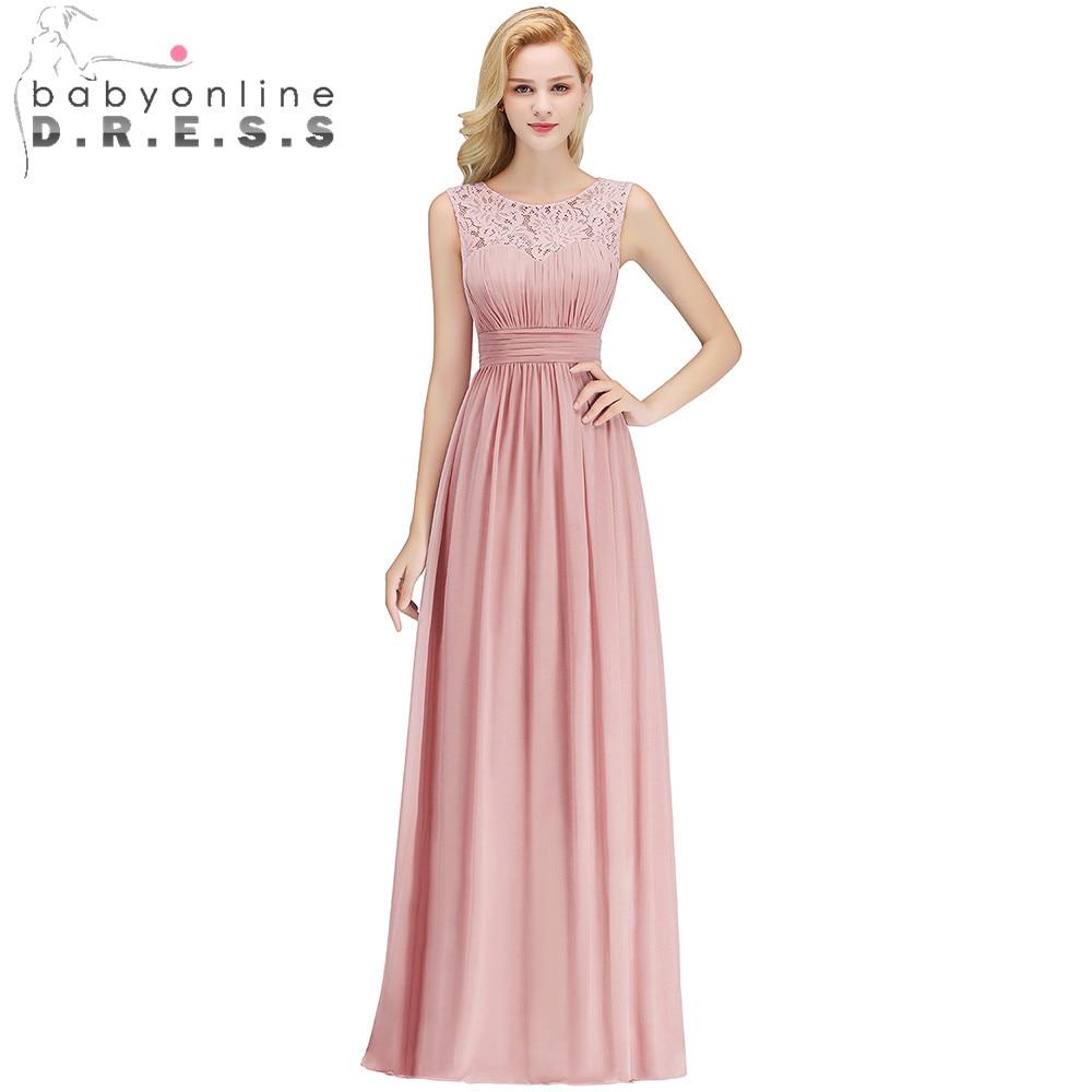 2019 Elegant Dusty Rose Lace Bridesmaid Dresses Pleat O
