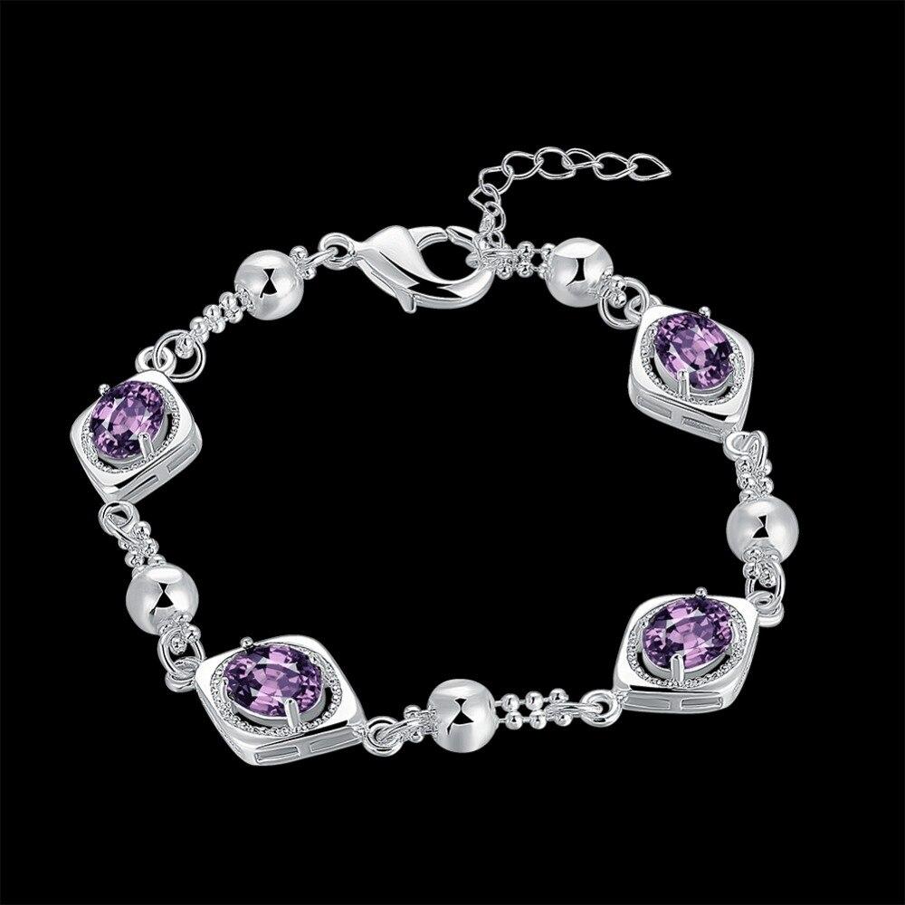 Wholesale new women bracelet 925 silver, crystal zircon bracelet H606 silver chain chain ladies jewelry