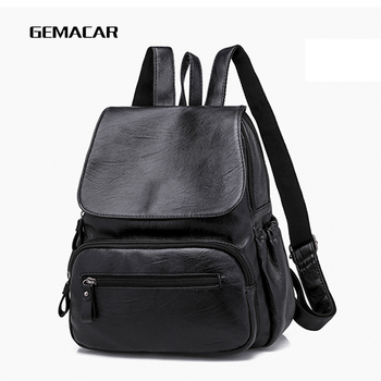 Elegant Fashion Women's Backpack Classic Design Popular Wild Lady Bag Soft Pu Leather Solid Color Casual Backpack Young Student цена 2017