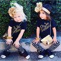 Clothes Sets 2016 New 2PCS Toddler Kids Children Baby Girls Outfits Short Sleeve T-shirt Top + Pants Dots Black Gold Clothes Set