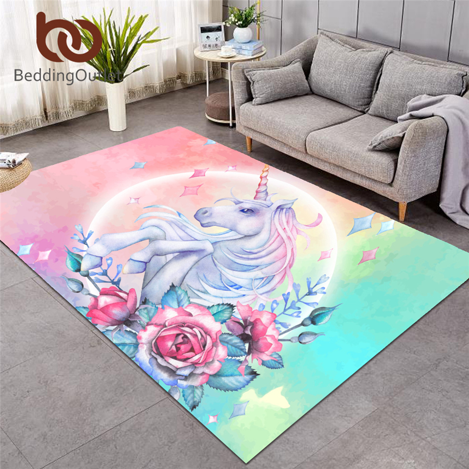 BeddingOutlet Unicorn Large Carpets for Living Room Rose Cartoon Kids Play Floor Mat Pink Floral Area Rug for Girls Room 122x183|Carpet| |  - title=