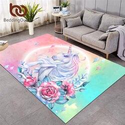Beddingoutlet unicórnio grandes tapetes para sala de estar rosa dos desenhos animados crianças jogar tapete rosa floral área para o quarto das meninas 122x183