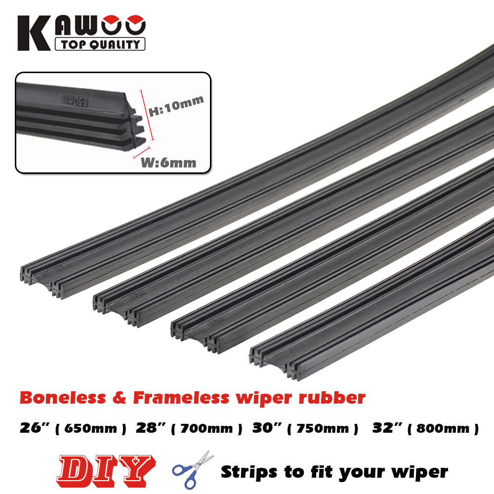 KAWOO 2pcs Boneless Frameless Rubber Wiper Blade Refill Strips Windscreen 6mm