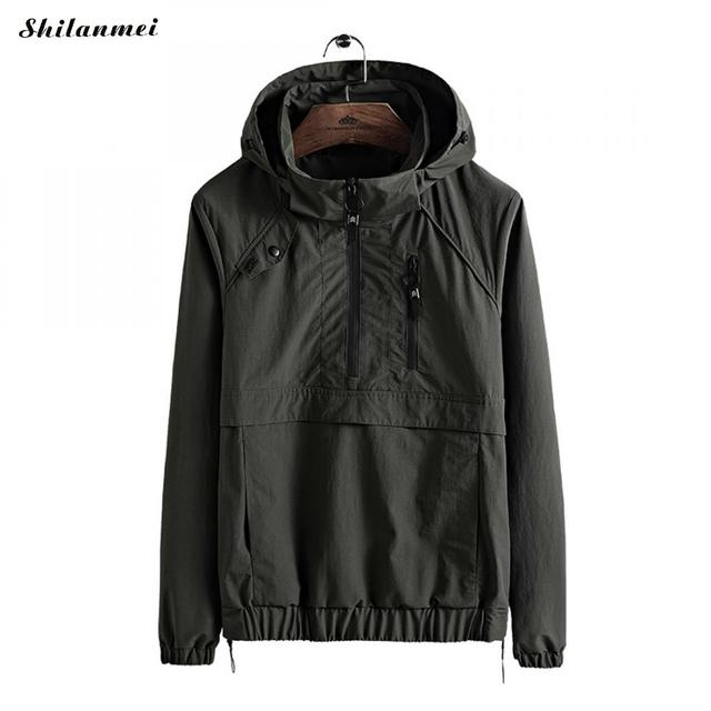 New Waterproof Men Trench Coat Hooded Spring Autumn Men Green Black Normal Jackets Windbreaker Windproof Overcoat Plus Size 3xl