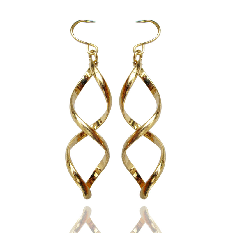 Women Special store Designer Gold Twisted metal pendant hanging earring brincos female earing
