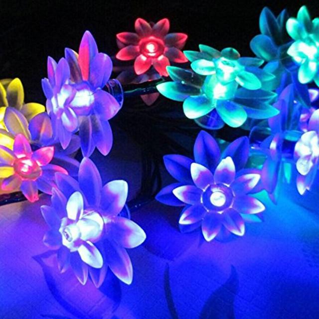 Solar LED Luces de la Secuencia de 20 Led Blanco/Caliente Blanco/RGB/Azul de Navidad de Hadas Cadena de Loto Para El Jardín Patio partido Guirnalda Al Aire Libre