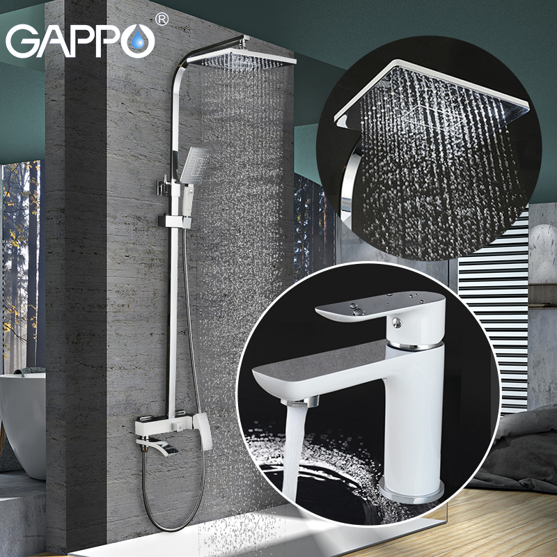 GAPPO banheiro torneira do chuveiro set torneira da banheira torneira misturadora cachoeira parede do chuveiro cabeça de chuveiro conjunto Torneira Da Bacia GA1048 + GA2407-8
