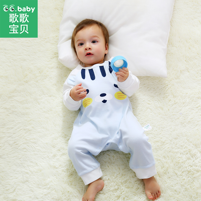 2015 Newborn Baby Clothing Spring Autumn O-Neck Long Sleeve Single Breasted Cotton Romper for 0-2 Year Old Boy Girl Hot Sale