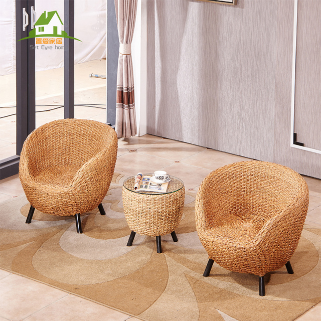 Habitat Set Rattan Chair Three Piece Coffee Table Balcony Tables And