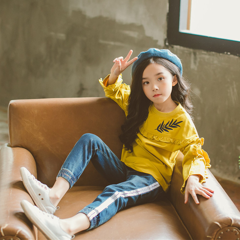 Kids Clothes Spring Autumn Girls Clothes Set New Child Embroidered Sport Suits Teens Girls Children Clothing Set Age 3-15Y CA328 стоимость