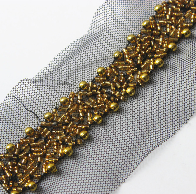 Gold Beaded Trim Braided Black Mesh Net Lace Ribbon Venise Motif Embellishment Applique Trimming Sewing on Collar 1yard T1402