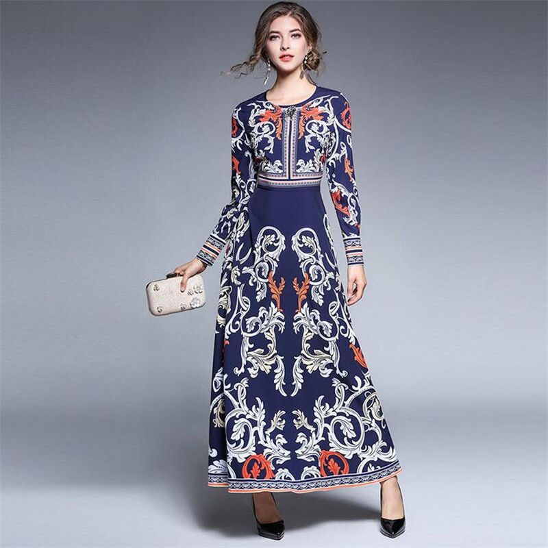 New 2019 O Neck Beads A Line Vintage Long Dress Party Elegant Vestidos Women Casual Flower