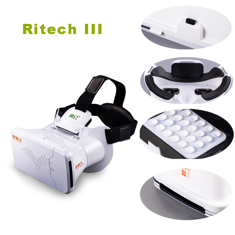 RITECH III VR Virtual Reality 3D Glasses Headband mount type With AR Google Cardboard for 3.5-6 inch Android IOS Phone