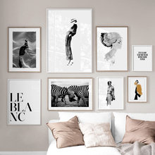 Paris Fashion Woman Zebra Quotes Wall Art Canvas Painting Nordic Posters And Prints Abstract Wall Pictures For Living Room Decor(China)
