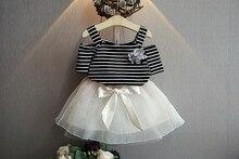 Summer Fashion Children Girls Clothing set Stripe Top +Bow TUTU Skirt Clothes Suits 2pcs