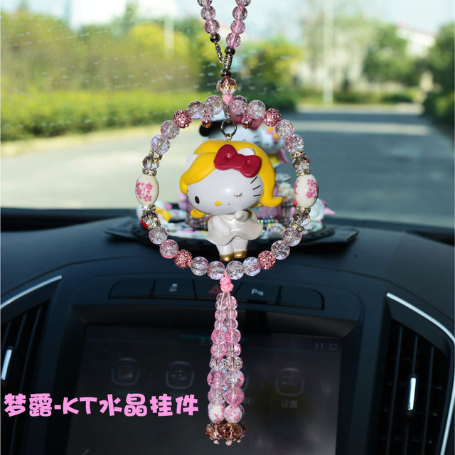 Cute Hello Kitty Car Ornaments Crystal Rhinestone Pendant Rearview Mirror Accessories Women