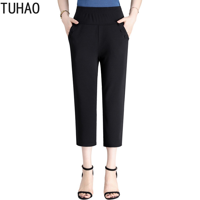 2019 Large Size 2XL 4XL 3XL Mom Pants Summer Nine Points Straight Elastic Waist Pants Women Pants Office Trousers LZ113