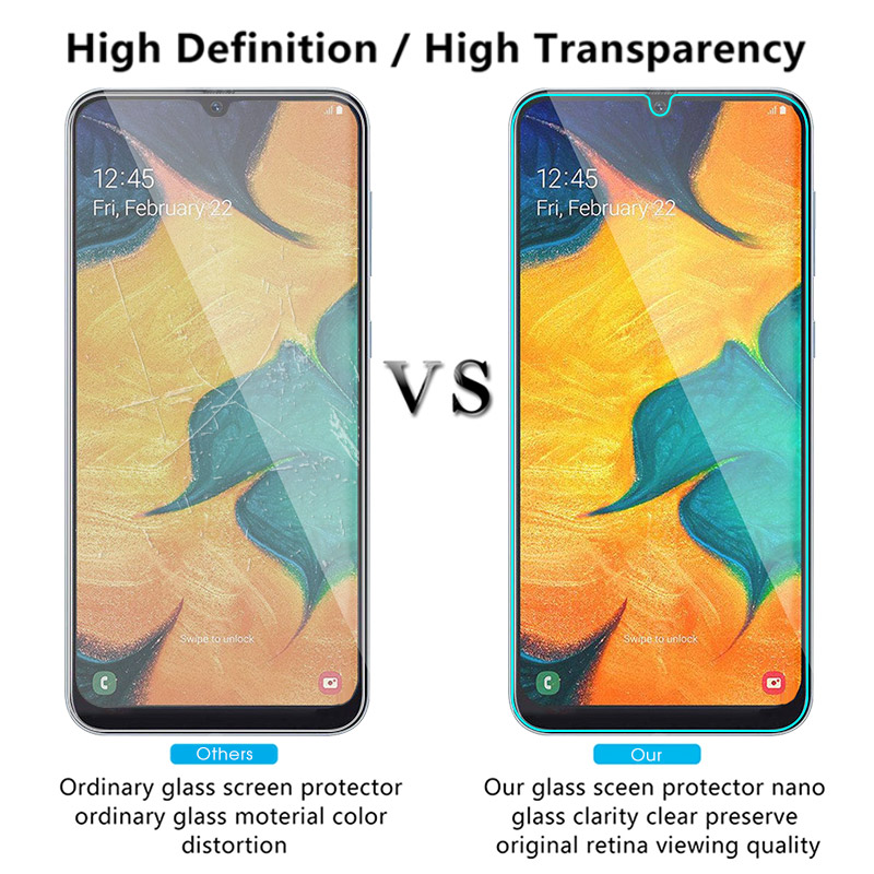 Image 4 - 9H Tempered Glass For Samsung Galaxy A50 A30 M20 M30 A10 M10 A7 2018 A750 Transparent Cover Screen Protector Toughened Glass-in Phone Screen Protectors from Cellphones & Telecommunications